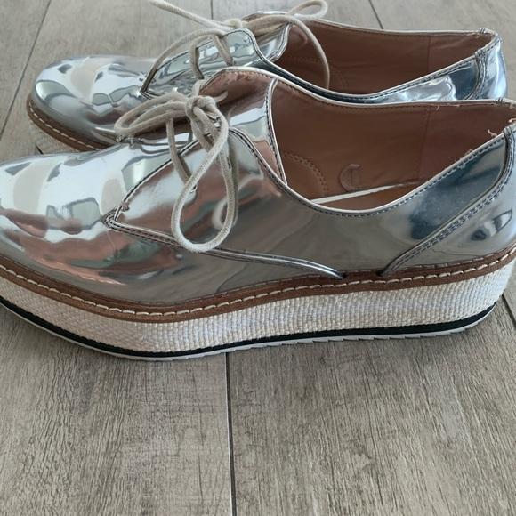 Silver Zara platform loafers -size 40